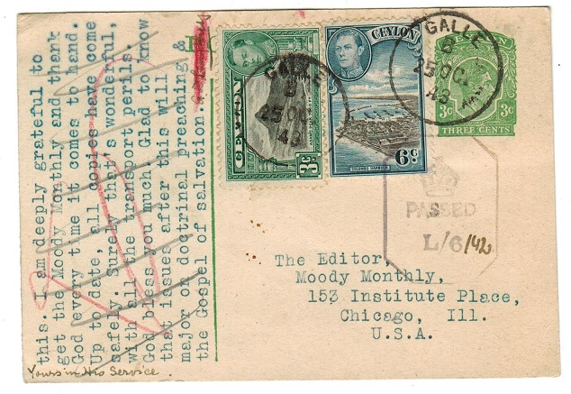 CEYLON - 1939 3c green PSC uprated and censored to USA.  H&G 70.
