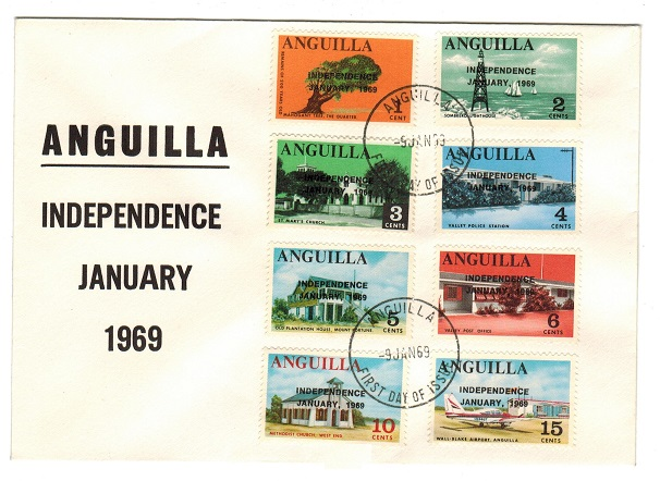 ANGUILLA - 1969 short set to 15c FDC of the INDEPENDENCE issue.