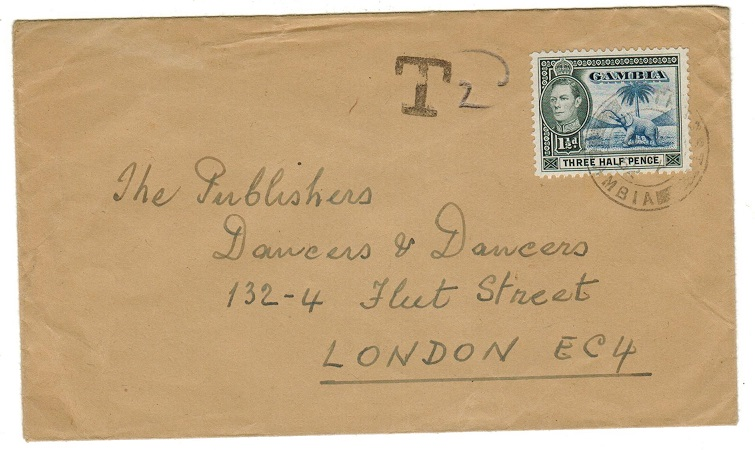 GAMBIA - 1952 underpaid tax cover to UK used at BATHURST.