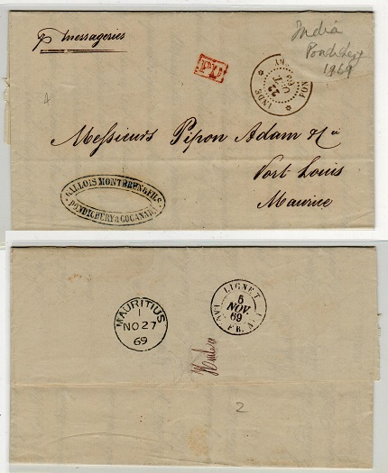 INDIA (Pondicherry) - 1869 stampless entire to Mauritius (stamp removed).