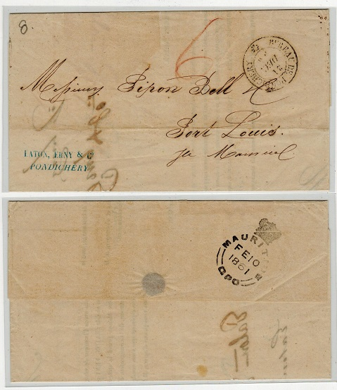 INDIA (Pondicherry) - 1860 stampless entire to Mauritius (stamp removed).