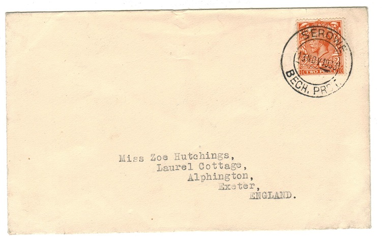 BECHUANALAND - 1933 2d rate cover to UK used at SEROWE.