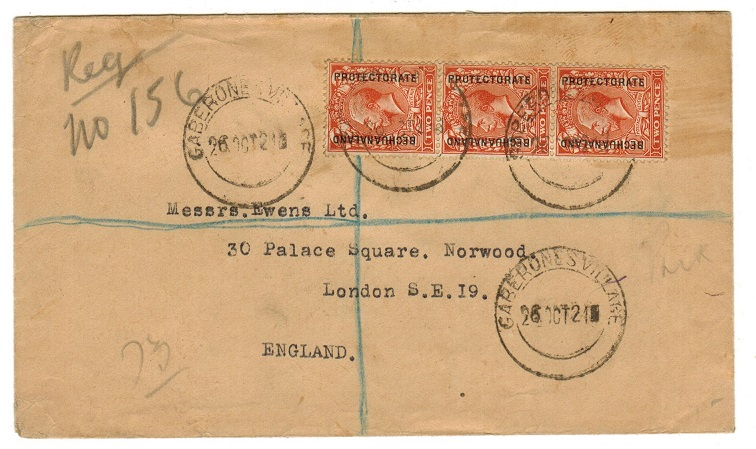 BECHUANALAND - 1921 registered cover to UK with 2d strip of three tied GABERONES VILLAGE.