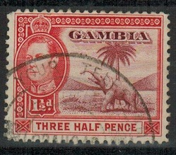 GAMBIA - 1940 KGVI 1 1/2d adhesive use with BATHURST GAMBIA SEND YOUR TELEGRAMS VIA IMPERIAL cds.