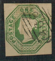 GREAT BRITAIN - 1847 1/- pale green embossed issue struck by