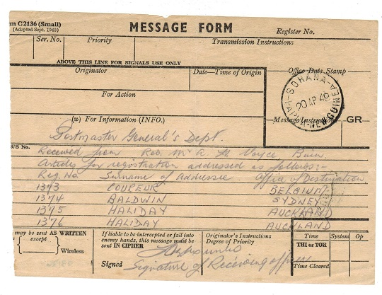PAPUA - 1949 use of MESSAGE FORM from SOHANA.