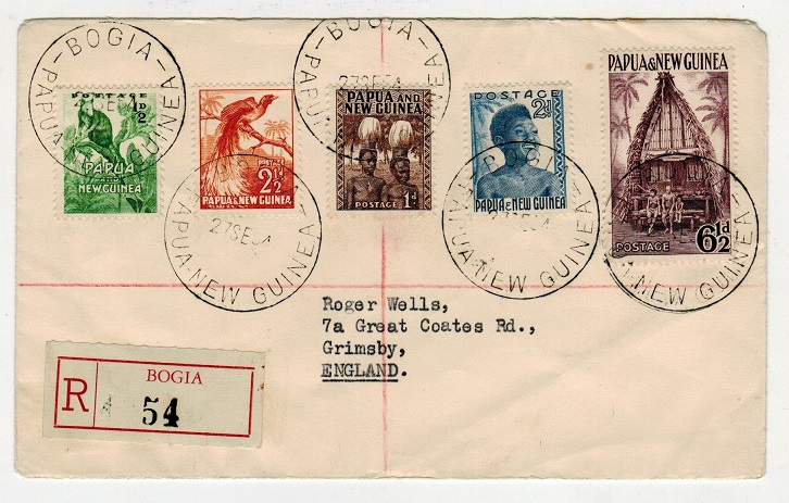 PAPUA - 1954 registered cover to UK used at BOGIA.