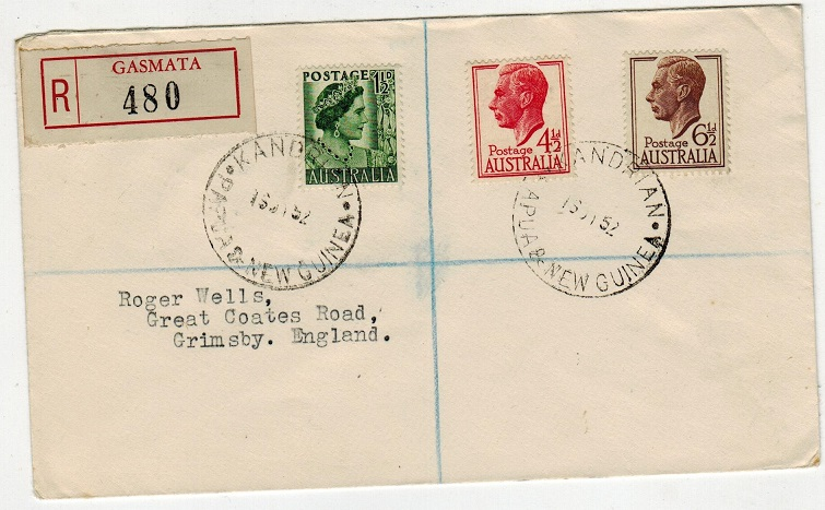 PAPUA - 1952 registered cover to UK bearing Australian adhesives used at KANDRIAN.