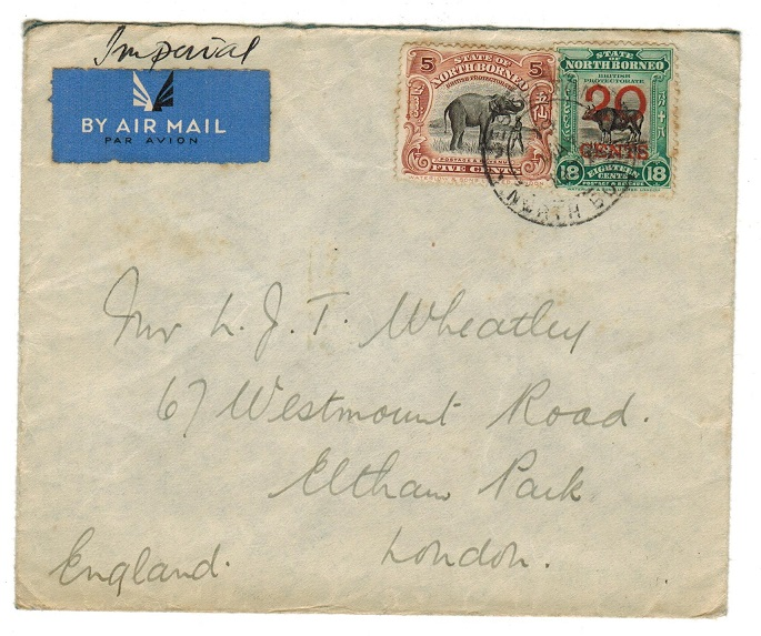 NORTH BORNEO - 1937 cover to UK used at JESSELTON
