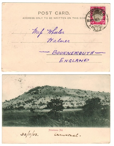 TRANSVAAL - 1903 1d rate postcard to UK used at STATION B.O.