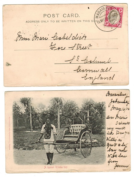 TRANSVAAL - 1903 1d rate postcard to UK used at MARAISBURG.