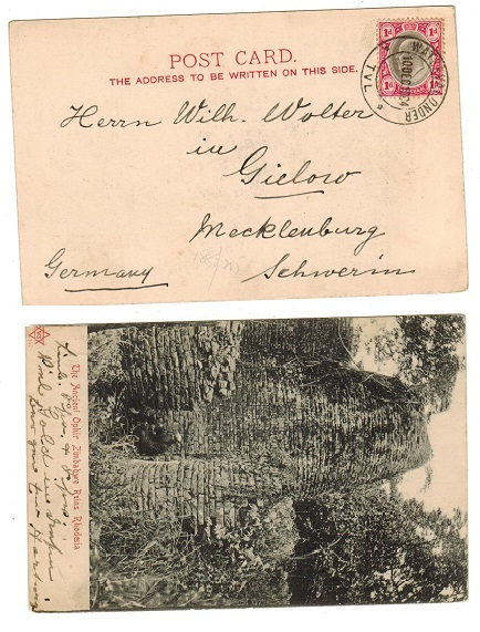 TRANSVAAL - 1904 1d rate postcard to Germany used at WATERVALONDER.