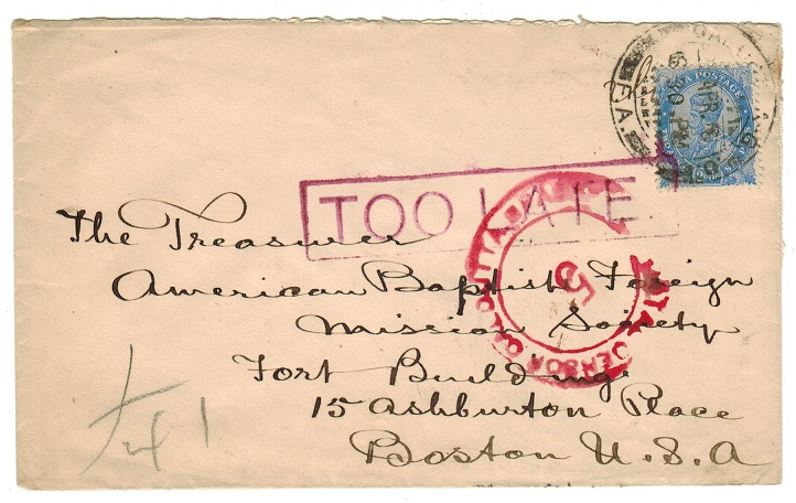 INDIA - 1916 POSTAL CENSOR/5/CALCUTTA cover with TOO LATE h/s applied.