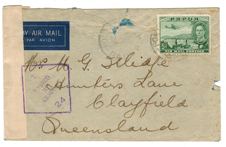 PAPUA - 1940 5d rate cover to Australia with censor arrival h/s used from PORT MORESBY.