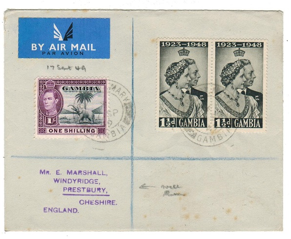 GAMBIA - 1949 registered cover to UK used at CAPE ST MARY.