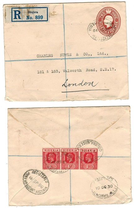 NIGERIA - 1927 2d PSE uprated for registered use to UK cancelled OBUBRA/NIGERIA. H&G 2.