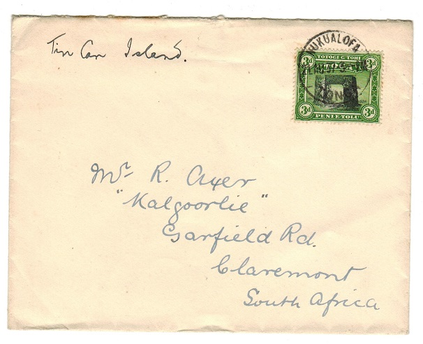TONGA - 1937 3d rate cover to South Africa used at NUKUALOFA.