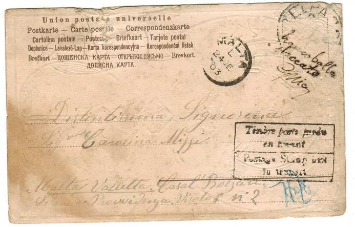 MALTA - 1903 inward postcard with POSTAGE STAMP LOST IN TRANSIT handstamp.