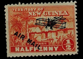NEW GUINEA - 1925 1/2d orange mint with SHORT I IN MAIL variety.  SG 125.
