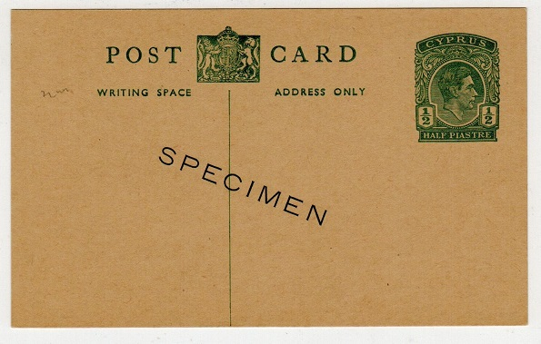 CYPRUS - 1938 1/2p green PSC unused with SPECIMEN applied diagonally.  H&G 24.