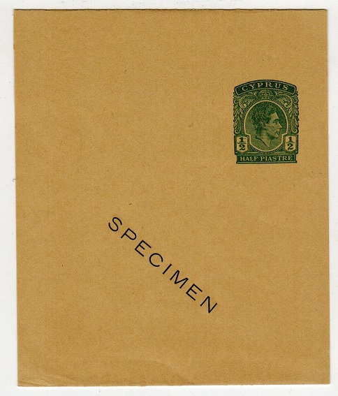 CYPRUS - 1938 1/2p green postal stationery wrapper SPECIMEN.  H&G 15.