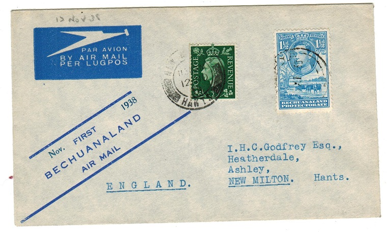 BECHUANALAND - 1938 first flight cover to UK.