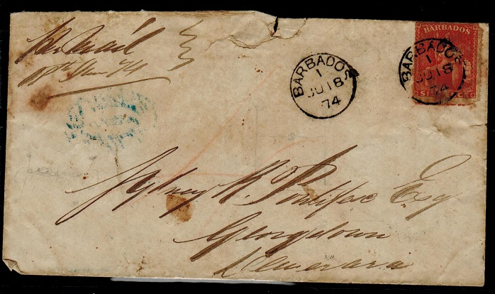 BARBADOS - 1874 (distressed) 6d rate inter-island cover cancelled BARBADOS/1.