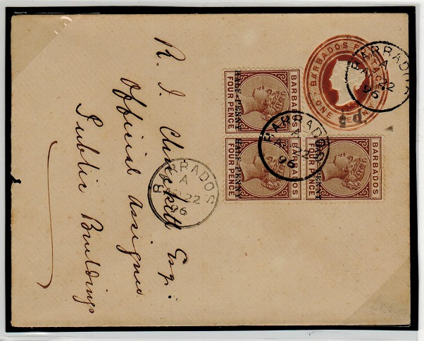 BARBADOS - 1892 1/2d on 1d PSE uprated with 1/2d on 4d surcharge adhesives.  H&G 3a.