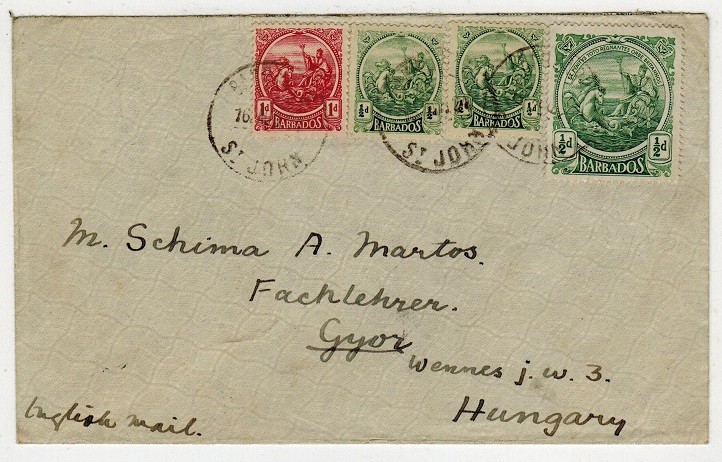 BARBADOS - 1913 2 1/2d rate cover to Hungary used at ST.JOHN