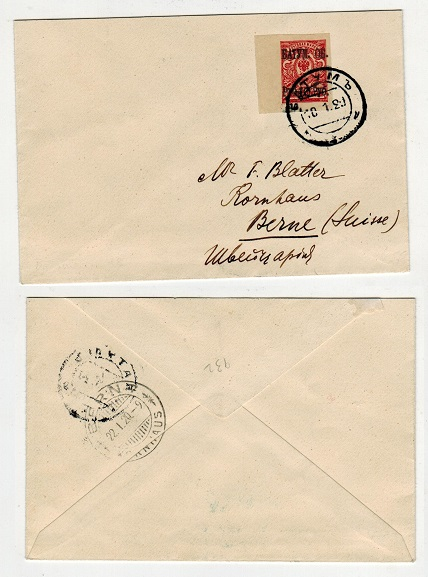 BATUM - 1920 10r on 3k rate cover to Switzerland.