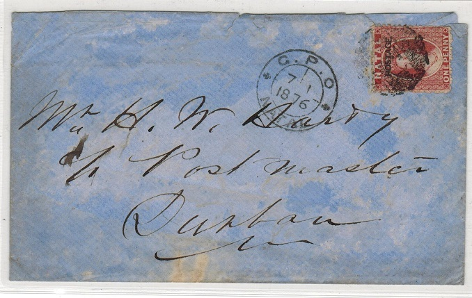 NATAL - 1876 1d rate local cover to Durban.