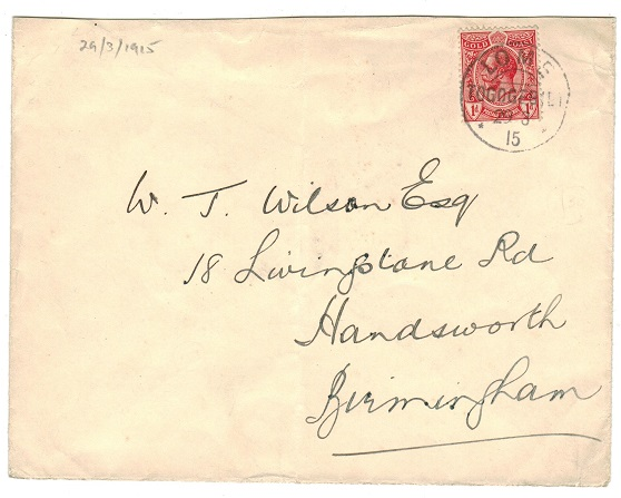 TOGO - 1915 1d rate (un-overprinted) cover to UK used at LOME.