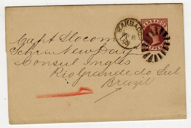 BARBADOS - 1882 1/2d brown postal stationery wrapper to Brazil (scarce).  H&G 1.