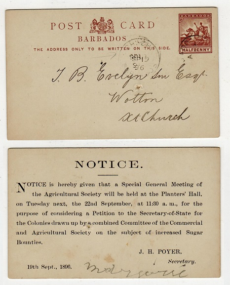 BARBADOS - 1892 1/2d PSC used locally struck CH.CH/BARBADOS (Christchurch).  H&G 8.