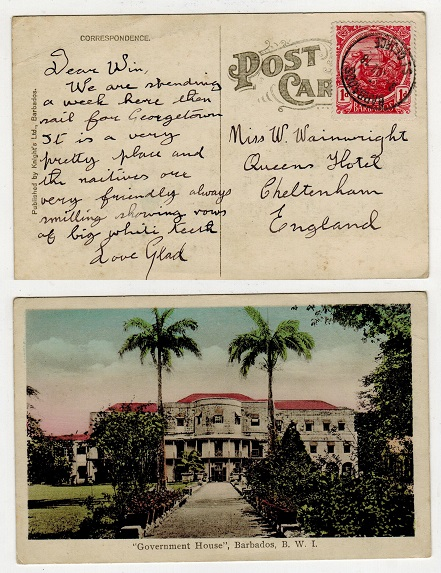 BARBADOS - 1918 1d rate postcard use to UK used at ST.GEORGE/BARBADOS parish.