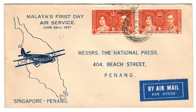 SINGAPORE - 1937 first flight cover to Penang.