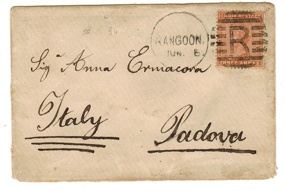 BURMA - 1880 3a rate cover to Italy (scarce) used at RANGOON.