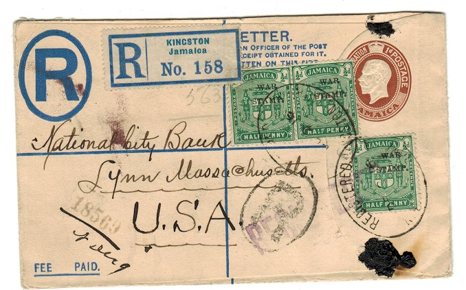 JAMAICA - 1913 2d+1d RPSE to USA uprated with