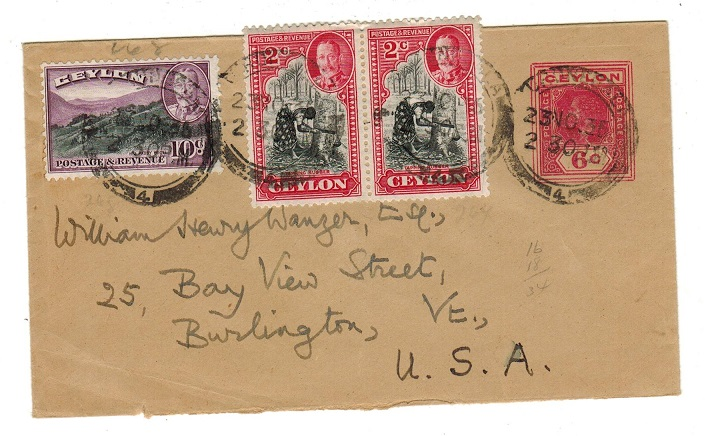 CEYLON - 1913 6c PSE uprated to USA.  H&G 52.