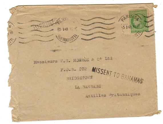 BAHAMAS - 1948 MISSENT TO BAHAMAS cover.