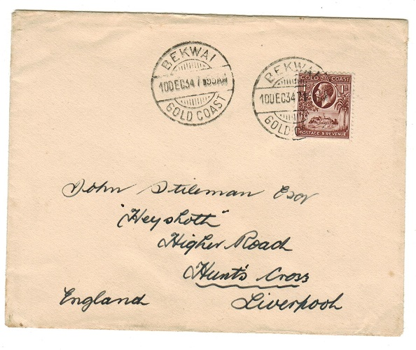 GOLD COAST - 1934 1d rate cover to UK used at BEKWAI.