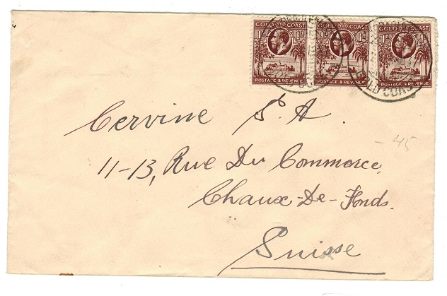 GOLD COAST - 1937 3d rate cover to Switzerland used at TAKORADI WHARF.