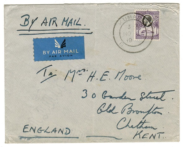 GOLD COAST - 1937 6d rate cover to UK used at KUMASI.