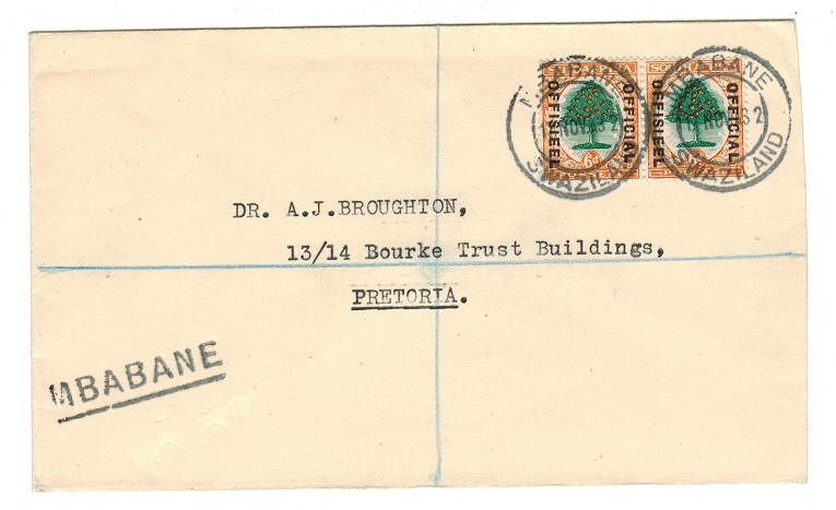SWAZILAND - 1932 South African OFFICIAL 6d pair on cover used at MBABANE.