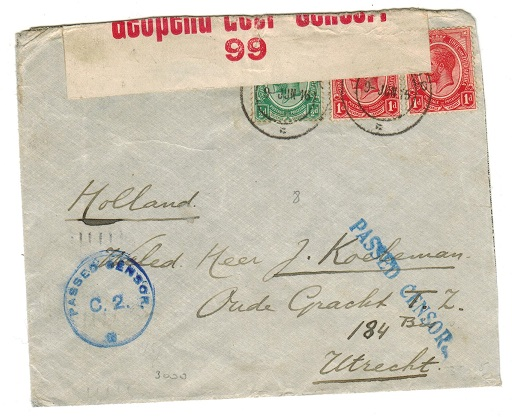 SOUTH AFRICA - 1915 PASSED CENSOR cover to Holland.