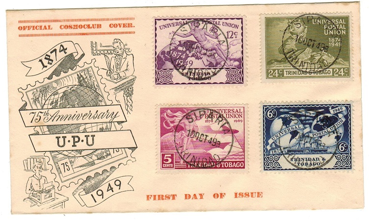 TRINIDAD AND TOBAGO - 1949 illustrated UPU first day cover used at SIPARIA.