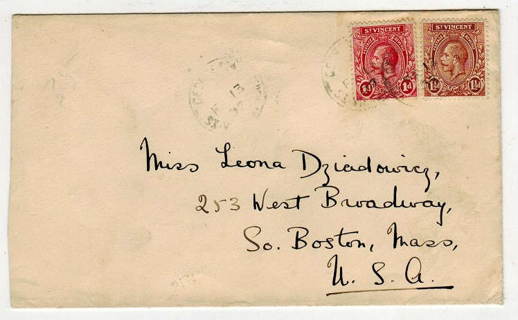 ST.VINCENT - 1937 2 1/2d rate cover to USA used at GEORGETOWN.