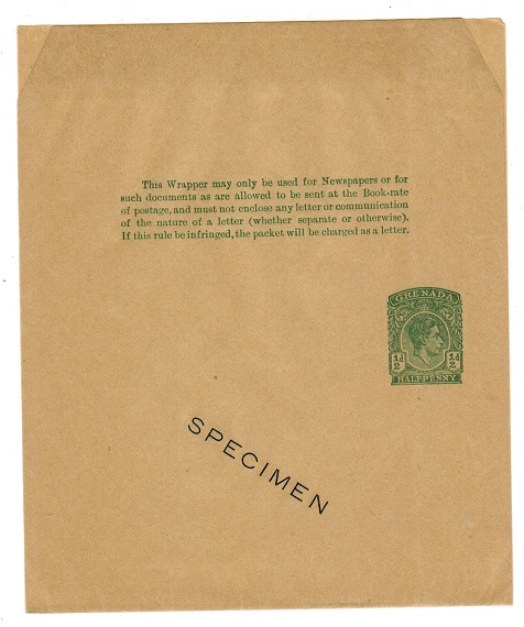 GRENADA - 1938 1/2d green postal stationery wrapper with SPECIMEN overprint.  H&G 11.