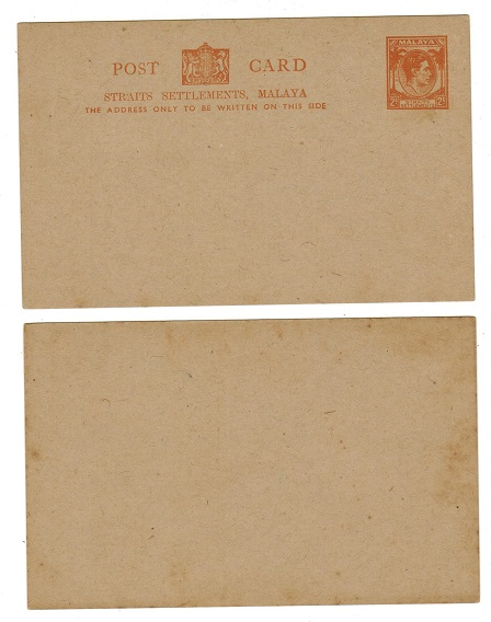 MALAYA (Straits Settlements) - 1939 2c orange PSC unused.  H&G 38.