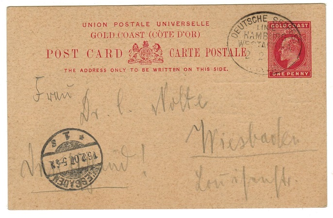GOLD COAST - 1903 1d PSC cancelled by DEUTSCHE SEEPOST/LINE/HAMBURG/WEST AFRIKA strike.